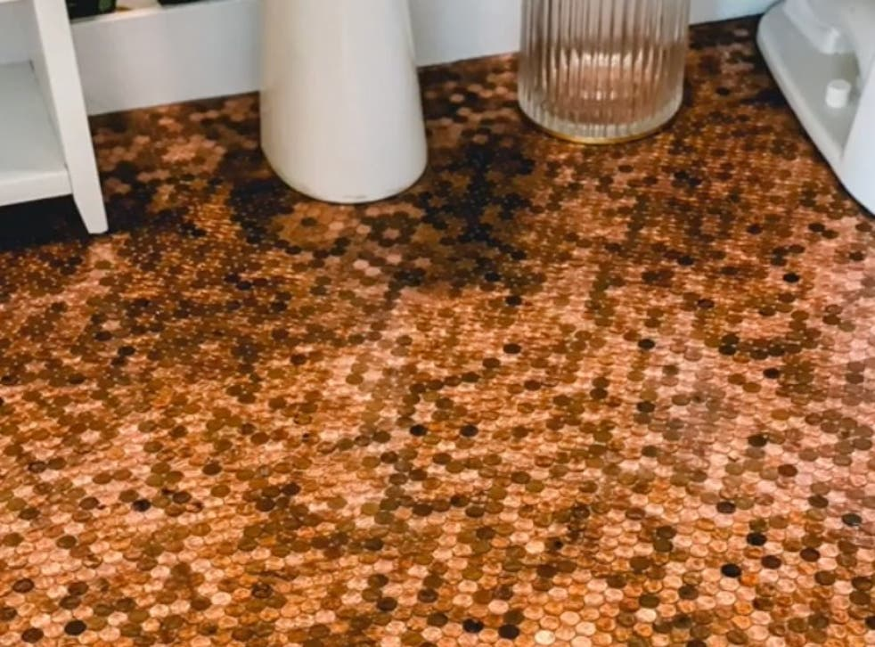 <p>Woman glues 7700 pennies to her bathroom floor and potentially misses out on a fortune </p>