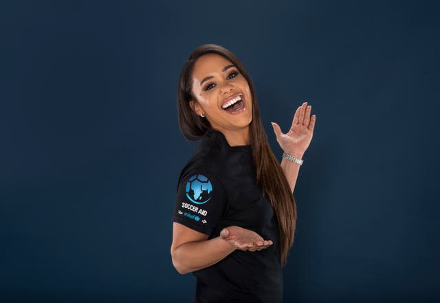 Presenter Alex Scott poses in a Soccer Aid for UNICEF t-shirt for the launch of Soccer Aid for UNICEF 2021.