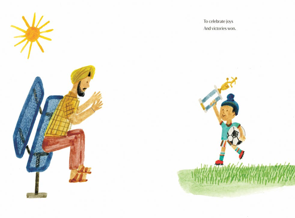 An illustration by Christian Robinson from The Bench by the Duchess of Sussex