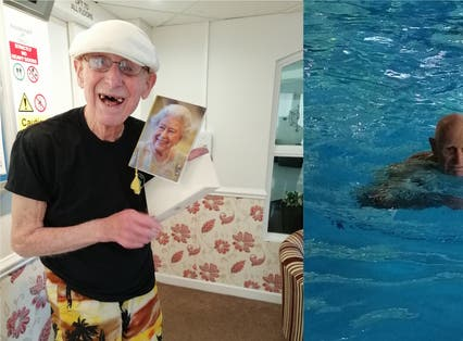 Bill Smith with his card from the Queen and swimming