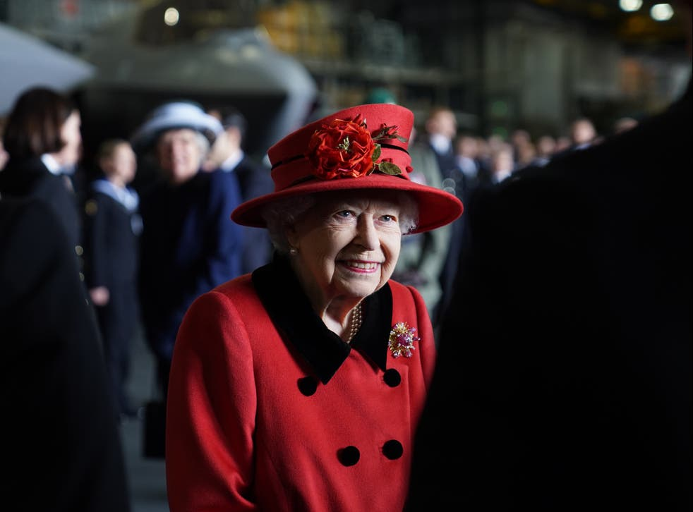 <p>Queen Elizabeth II during a visit to HMS Queen Elizabeth at HM Naval Base ahead of the ship's maiden deployment in May</p>