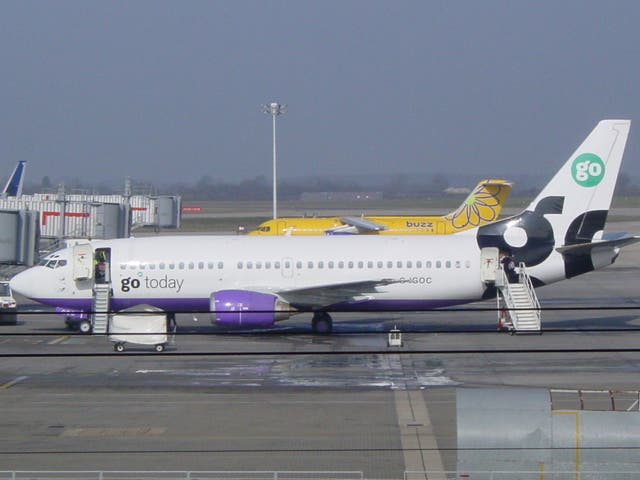 <p>Buzzed off: Go has gone from Stansted, but Buzz has reappeared</p>