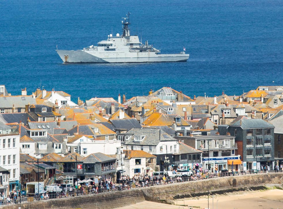 <p>HMS Tyne is seen in just off the coast at the G7 summit site in St Ives, Cornwall, June 8 2021. Leaders from around the world are expected in the seaside town later this week.</p>