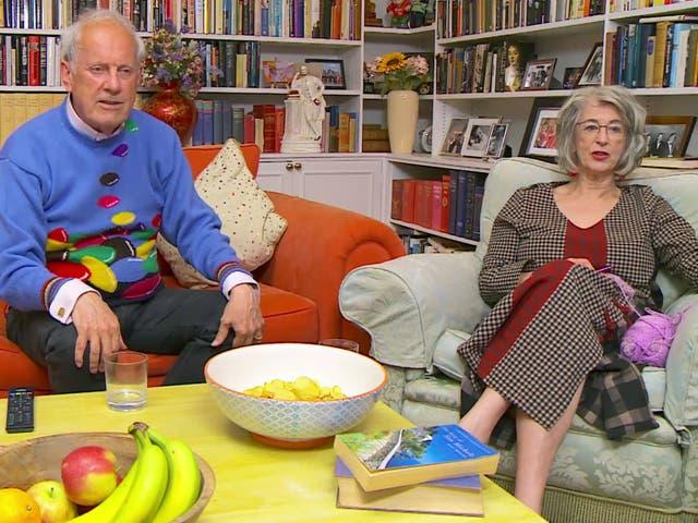 <p>Giles Brandreth and Maureen Lipman on Celebrity Gogglebox</p>