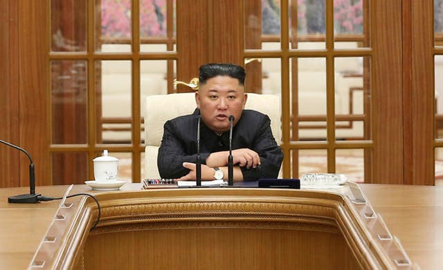 <p>Kim Jong-un attends a meeting in Pyongyang, North Korea which led to suggestions he has lost weight </p>