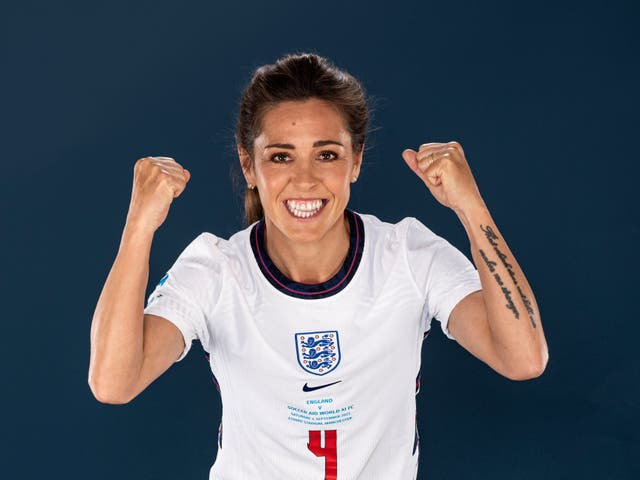 <p>Fara Williams poses in a Soccer Aid for UNICEF football kit for the launch of Soccer Aid for UNICEF 2021</p>