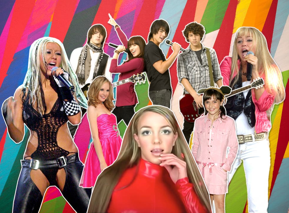 <p>Growing pains (clockwise from left): Christina Aguilera, Demi Lovato and the Jonas Brothers from Camp Rock, Miley Cyrus as Hannah Montana, Alyson Stoner, Britney Spears and Meaghan Martin</p>