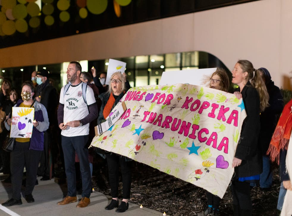 <p>People seen outside the Perth Children's Hospital on 9 June, 2021, where 3-year-old Tharnicaa is receiving medical care.</p>
