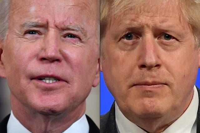 <p>Joe Biden, left, will meet Boris Johnson today</p>