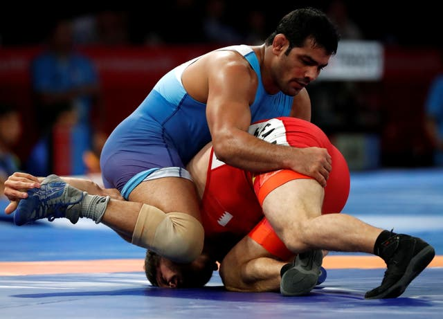 <p>File Sushil Kumar of India in action at the 2018 Asian Games</p>