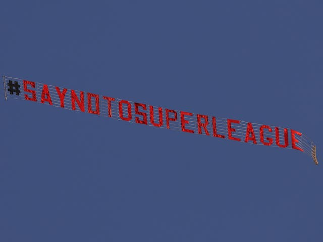 <p>A banner flown above Elland Road in March</p>