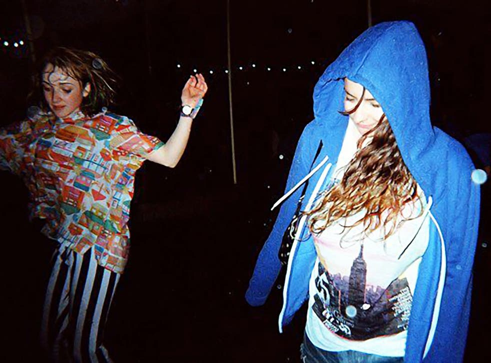 <p>Alexandra Pollard (right) at her first V Festival in 2009</p>
