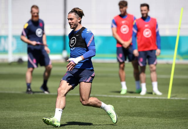 <p>Jack Grealish in training at St George's Park</p>