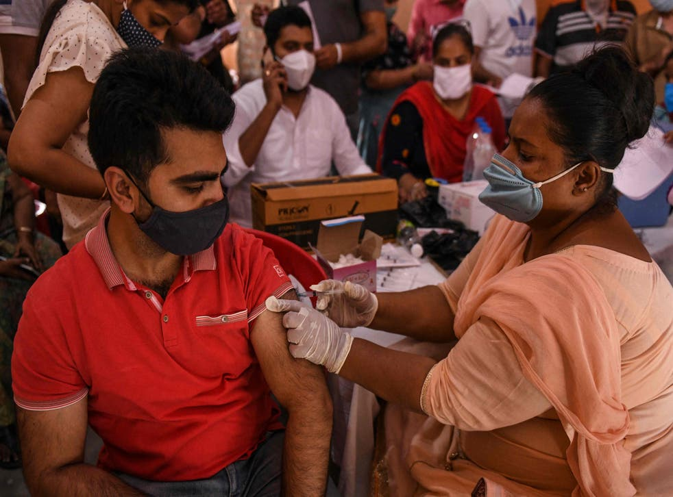 <p>A health worker during a vaccination camp in Amritsar, India, on 8 June, 2021.   </p>