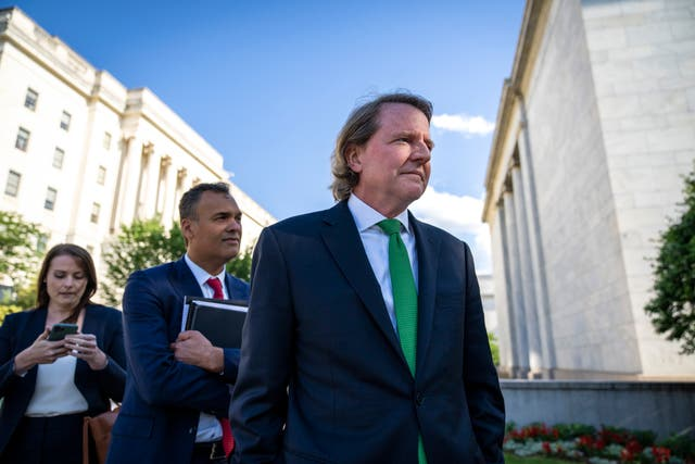 <p>Former White House counsel Don McGahn leaves Capitol Hill after closed door meeting with the House Judiciary Committee on  4 June 2021 in Washington, DC. McGahn, a witness in special counsel Robert Mueller's investigation, was first subpoenaed by the committee two years ago but was blocked from appearing by the White House </p>