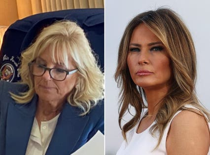 <p>(Left) First Lady Jill Biden (Right) Former First Lady, Melania Trump</p>