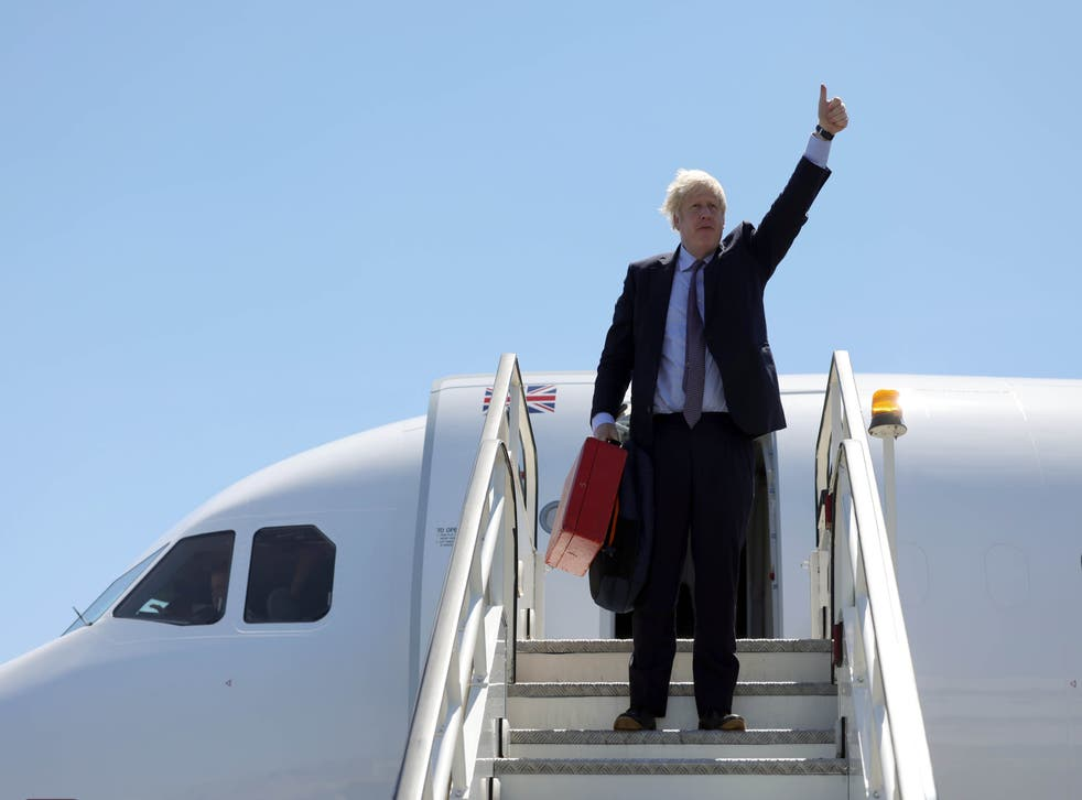 <p>Boris Johnson stepping off a plane on Wednesday night in Cornwall</p>