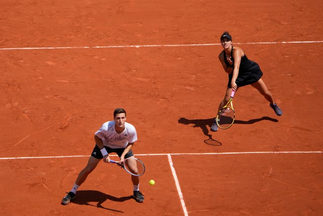 <p>Joe Salisbury (left) and Desirae Krawczyk in action</p>