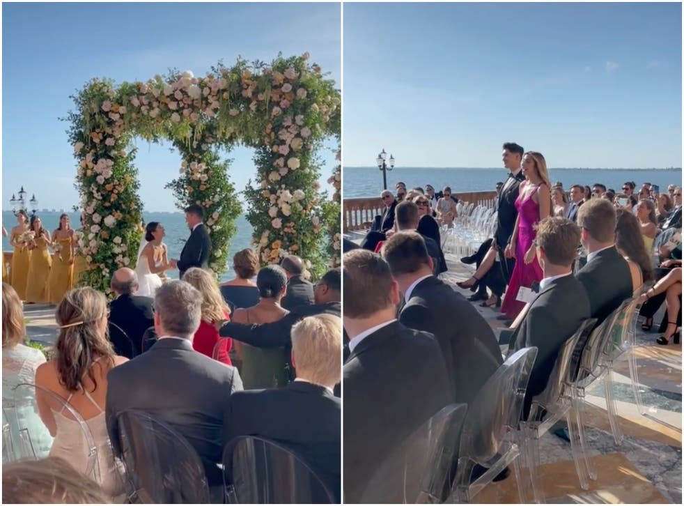 <p>Bride Caila Quinn posted footage of her big surprise on TikTok</p>
