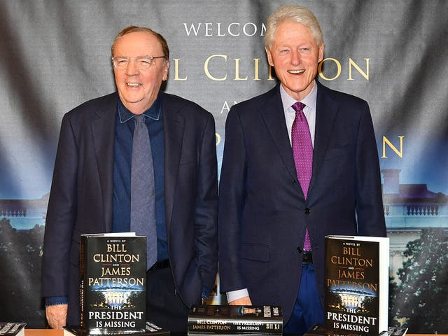 <p>Running mates: James Patterson and Bill Clinton pose at Barnes & Noble in New York City, 2018</p>
