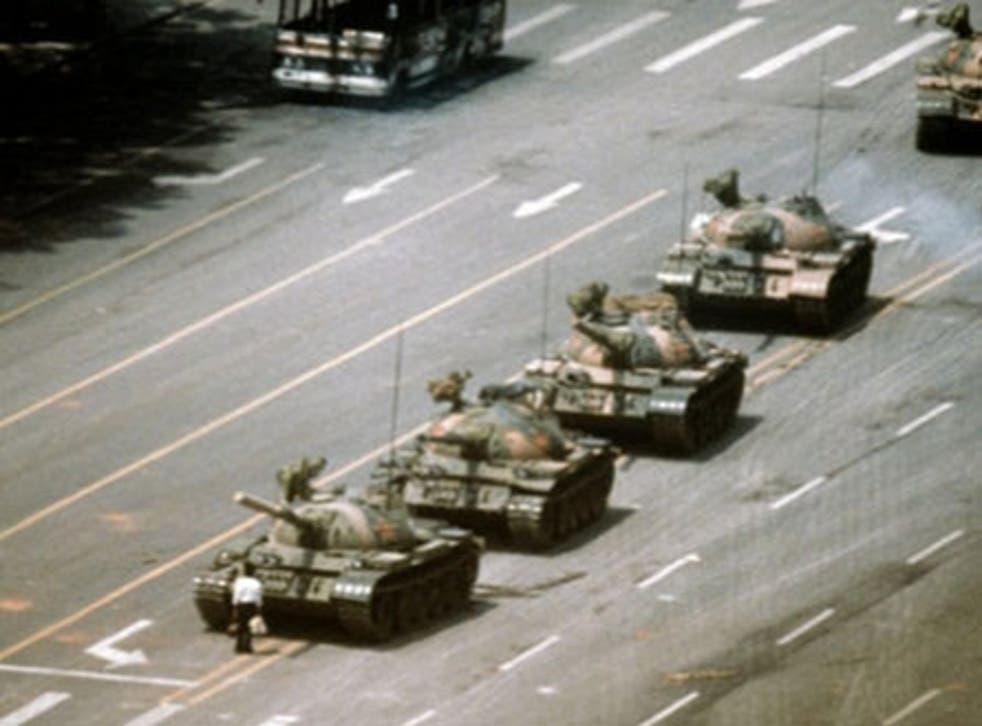 """<p>""""Tank man"""" refers to the pro-democracy protestor who stood in front of Chinese government tanks in Tiananmen Square on 4 June, 1989</p>"""