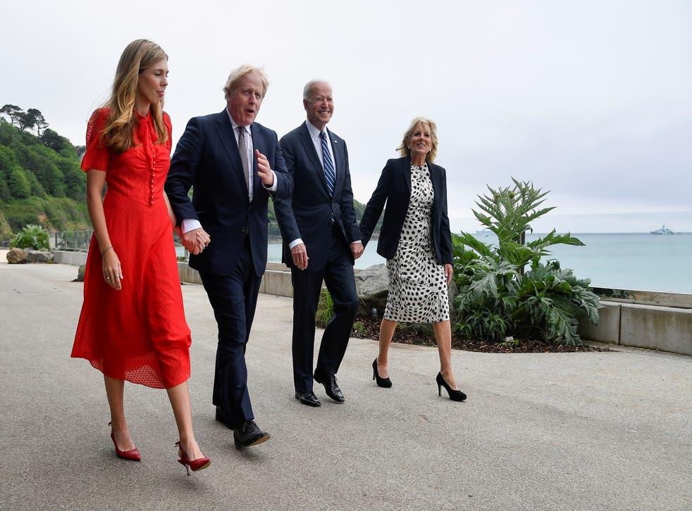 <p>Boris Johnson, his wife Carrie Johnson and Joe Biden with first lady Jill Biden walk outside Carbis Bay Hotel</p>