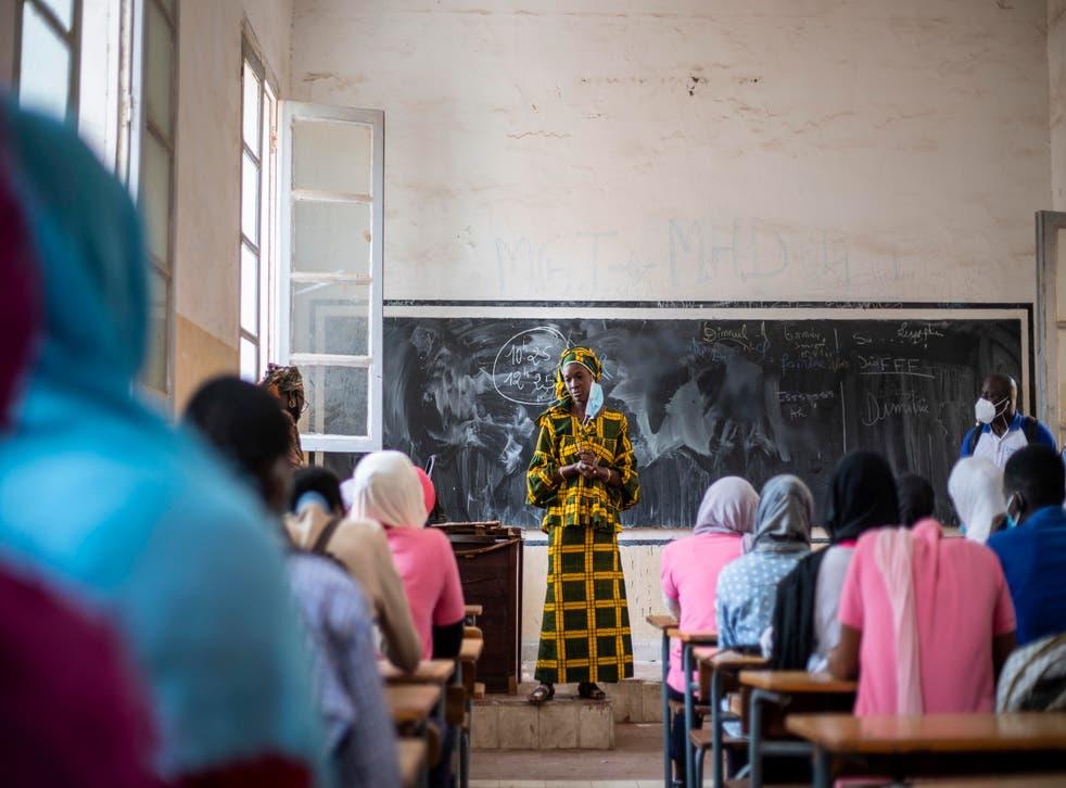 <p>Madame Sakho, a teacher at a school in Saint Louis, Senegal, where MSI provides information</p>