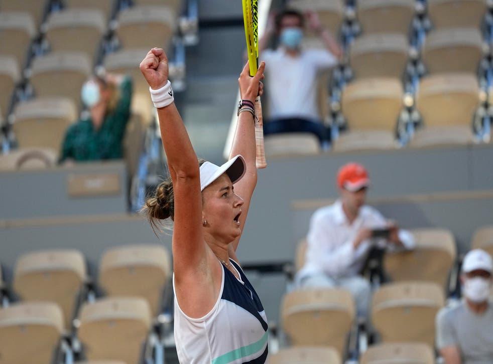 <p>Barbora Krejcikova celebrates a dramatic victory</p>