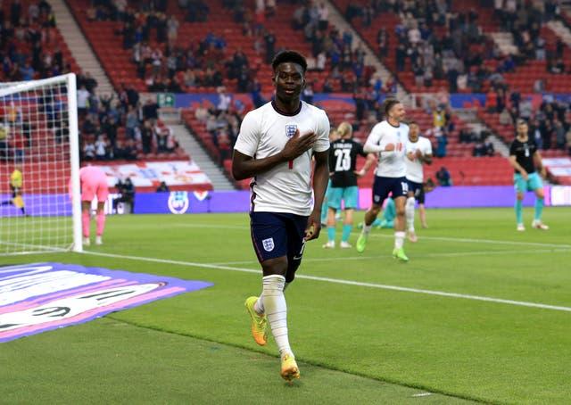 <p>Bukayo Saka scored his first England goal in the win over Austria last week</p>
