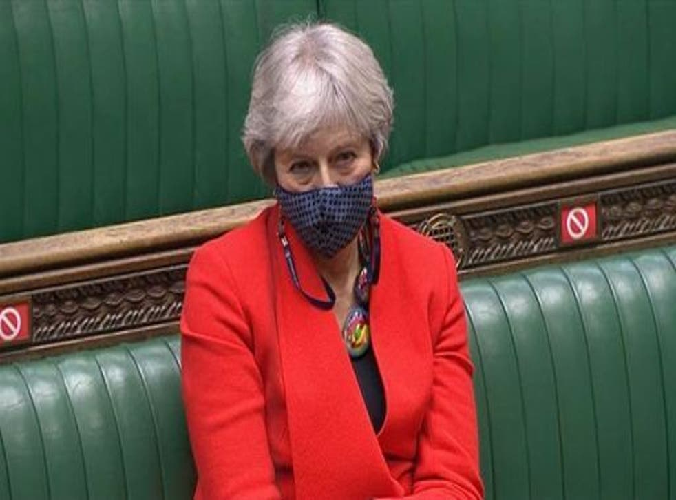 <p>Theresa May, standing her ground in the House of Commons</p>