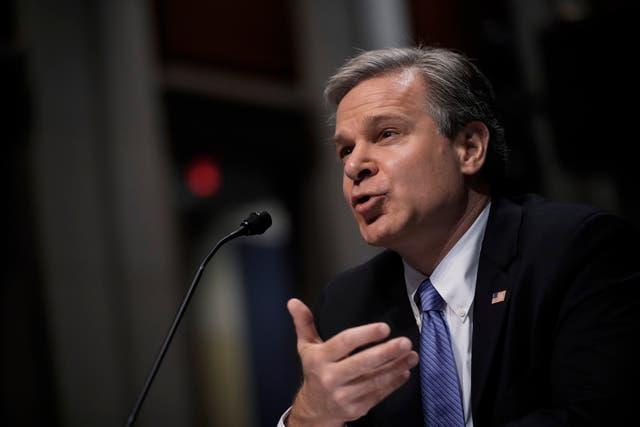 <p>El director del FBI, Christopher Wray, testifica durante una audiencia de supervisión del Comité Judicial de la Cámara de Representantes en Capitol Hill el 10 de junio de 2021.</p>