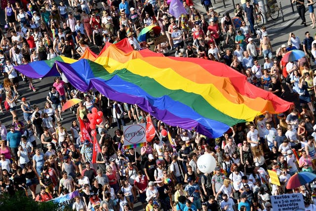 <p>People march with giant rainbow flag in Pride Parade in Budapest in 2019</p>