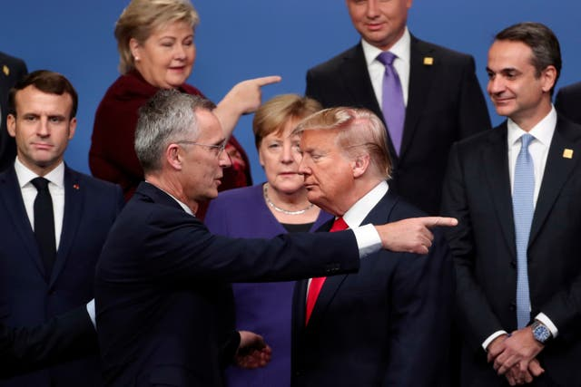 <p>Which way next for Nato? Secretary-General Jens Stoltenberg and Donald Trump at a 2019 meeting of the defence organisation</p>