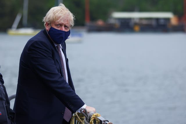 <p>Prime Minister Boris Johnson at the G7 summit in Cornwall</p>