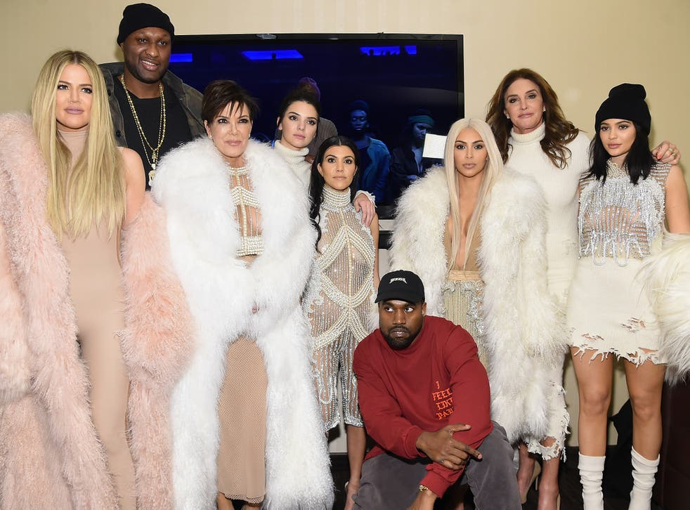 <p>Kanye and the Kardashian family in happier times back in 2016 for his Yeezy Season 3 show</p>