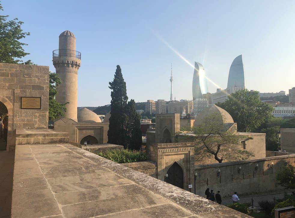 <p>Fan zone: the skyline of Baku</p>
