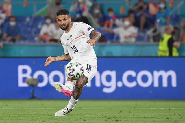 <p>Italy's Lorenzo Insigne scores his side's third goal against Turkey in the opening game at Euro 2020</p>