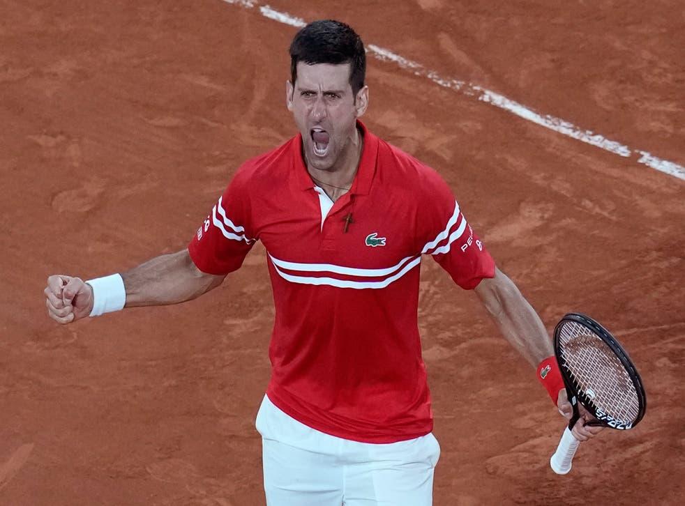 <p>Novak Djokovic celebrates</p>
