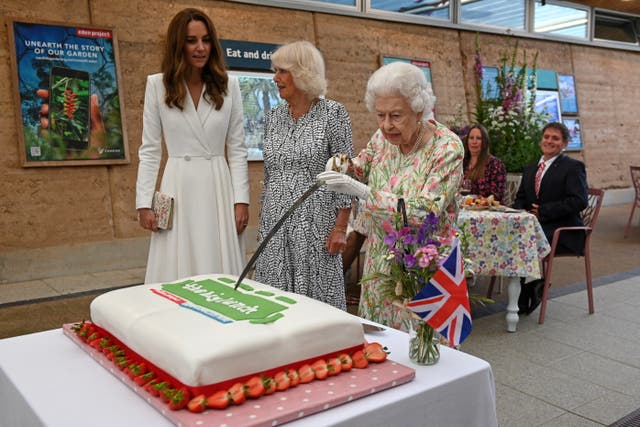 <p>The Queen opted to use an 'unusual' method to ceremonially cut a cake at the Big Lunch initiative </p>