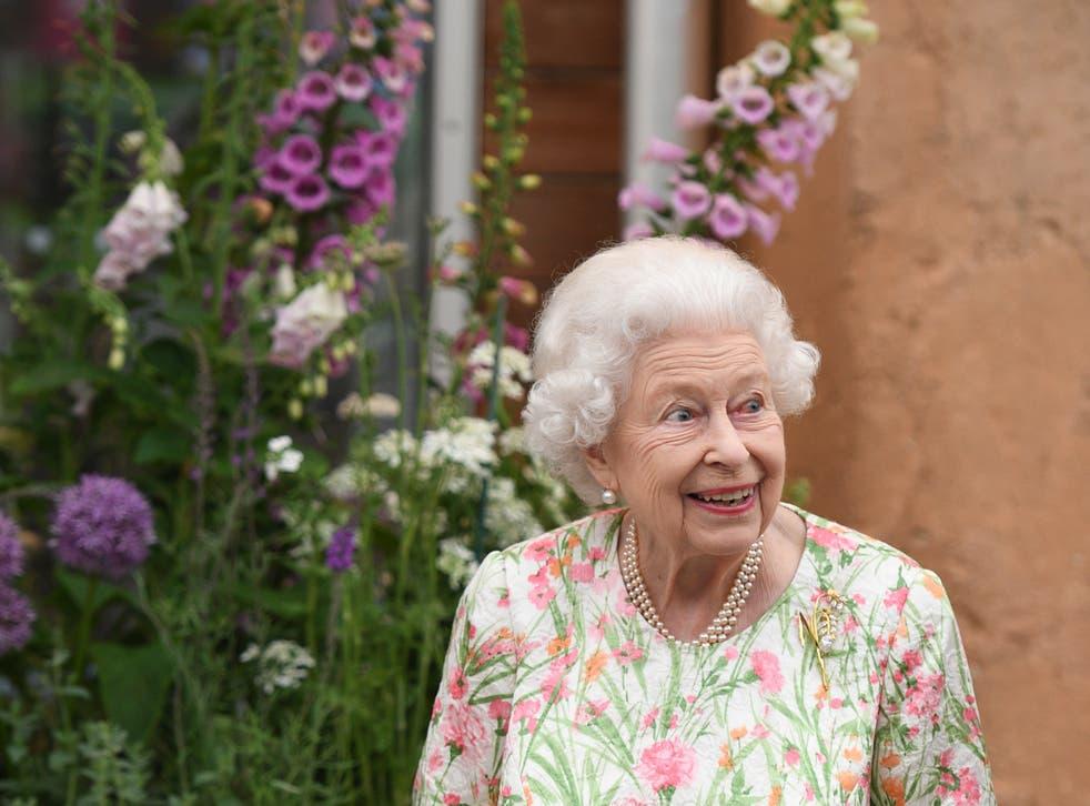 <p> Queen Elizabeth II smiles during the G7 Summit on June 11, 2021</p>