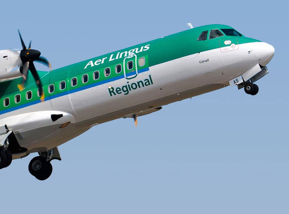 <p>Stobart Air plane in the colours of Aer Lingus Regional</p>