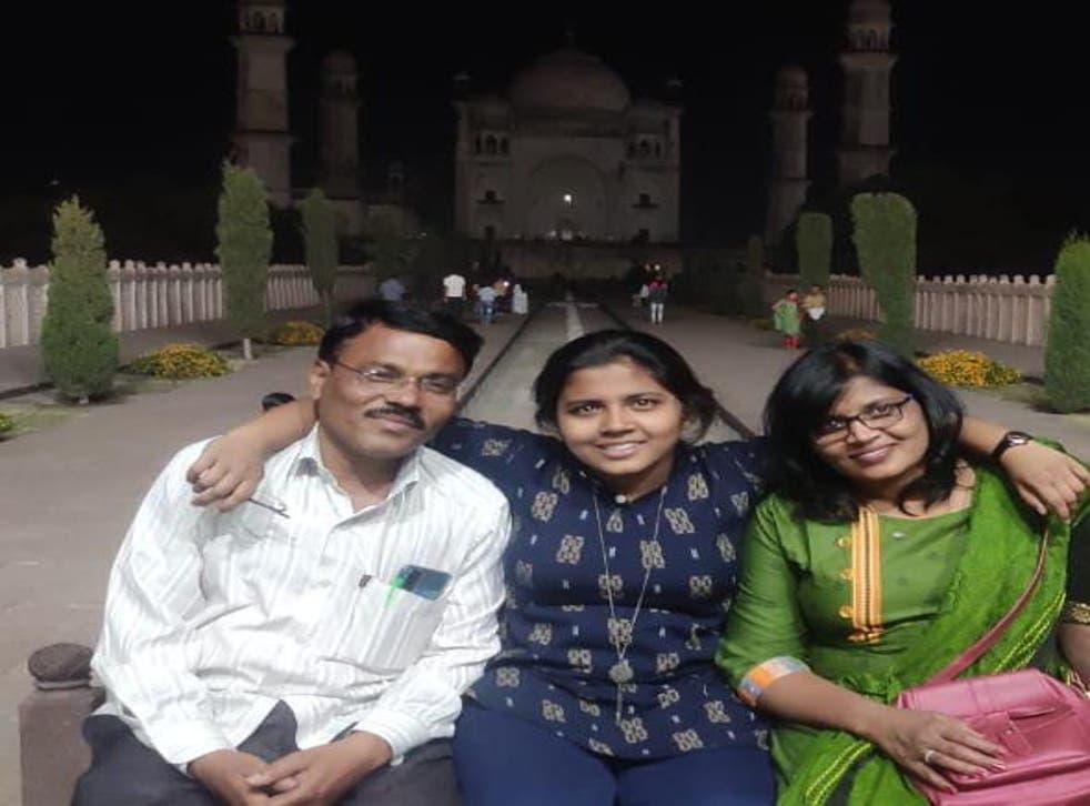 <p>From L-R: Journalist Harishchandra Dhaware, his daughter Vishakha Dhaware and wife Jayashri Dhaware</p>