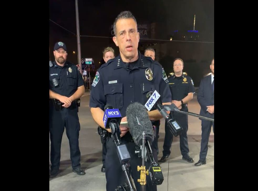 <p>Acting Austin, Texas police chief Joseph Chacon gives an update on the 6th Street shooting</p>