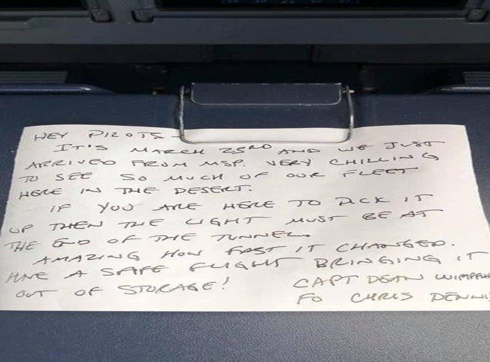 <p>A handwritten note by a Delta Air Lines pilot dates back to the fearful moment the airline parked much of its fleet in a California desert</p>