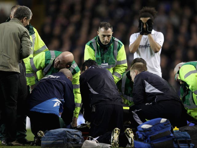 <p>Fabrice Muamba receives CPR after collapsing on the pitch at White Hart Lane on 17 March 2012</p>