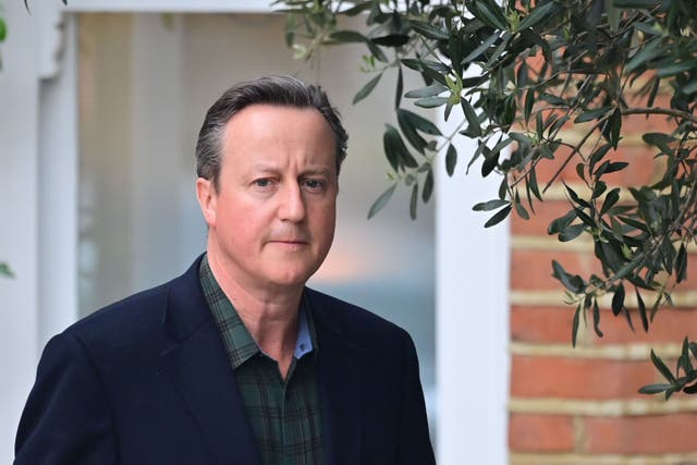 <p>LONDON, ENGLAND - MAY 13: Former Prime Minister David Cameron leaves his home to give evidence to a select committee on Greensill, on 13 May, 2021 in London, England.</p>