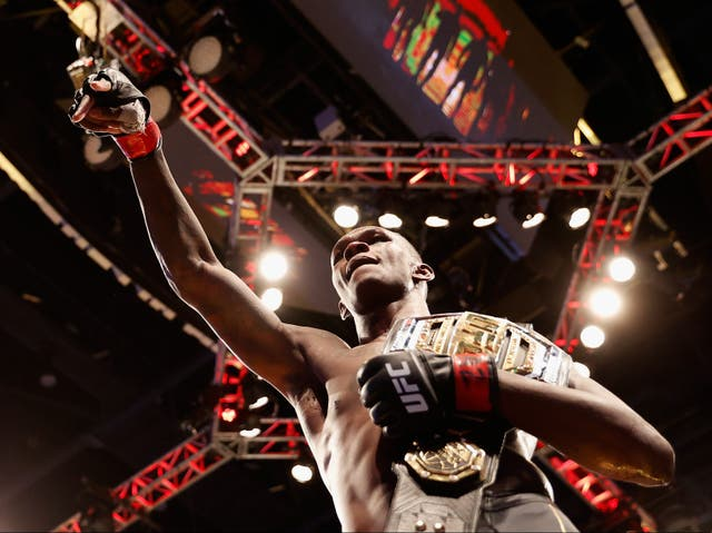 <p>Israel Adesanya after retaining the UFC middleweight title for the third time</p>