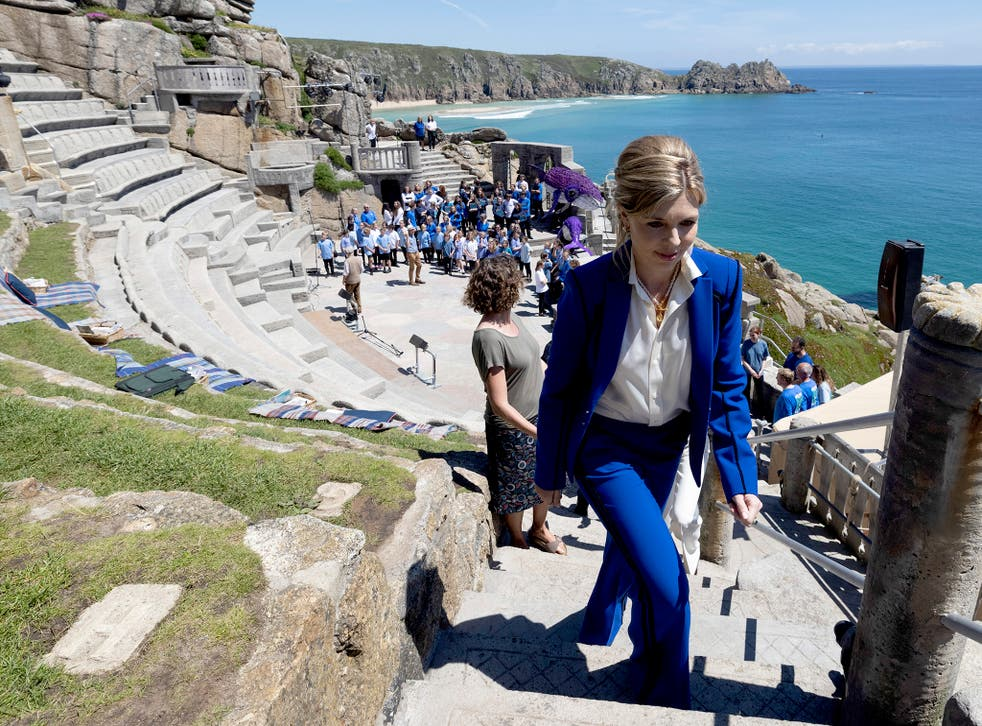 <p>Carrie Johnson at a performance of 'Ocean World' at the Minack Theatre, Porthcurno, on Saturday</p>