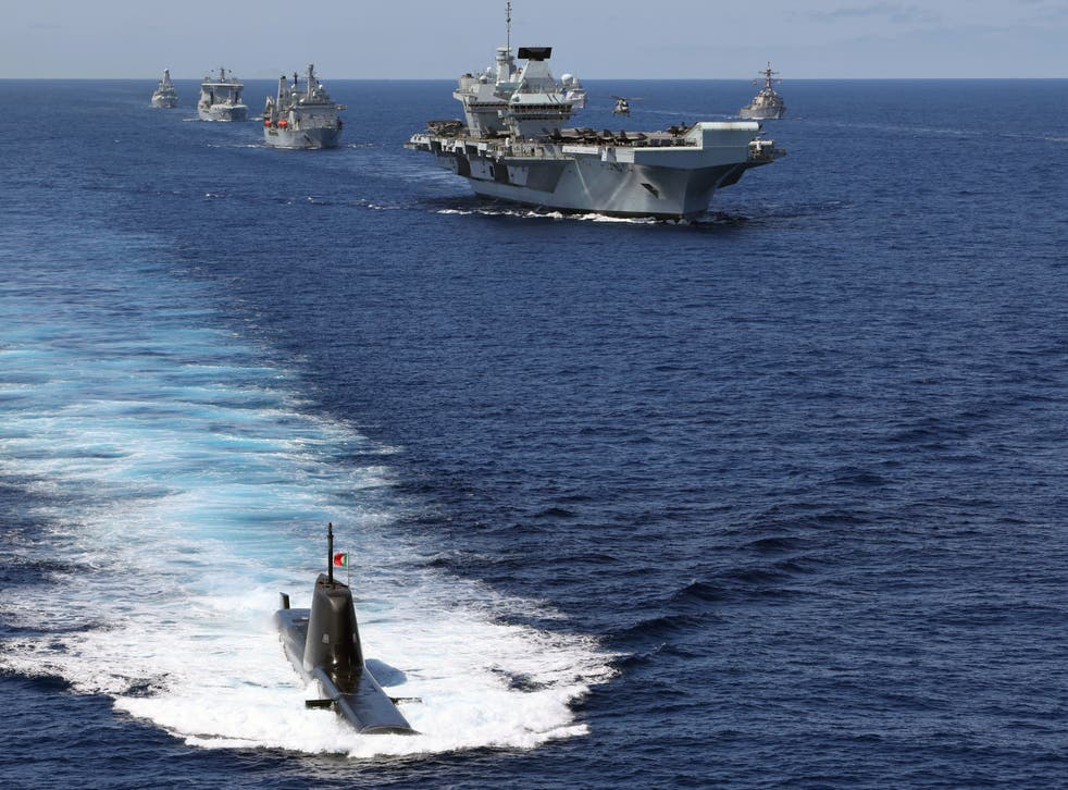 <p>The Nato standing maritime group with the UK's carrier strike group including the aircraft carrier HMS Queen Elizabeth in the eastern Atlantic</p>
