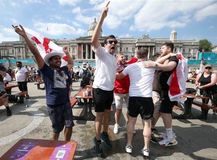 <p>Celebrations at the Fan Zone in Trafalgar Square</p>